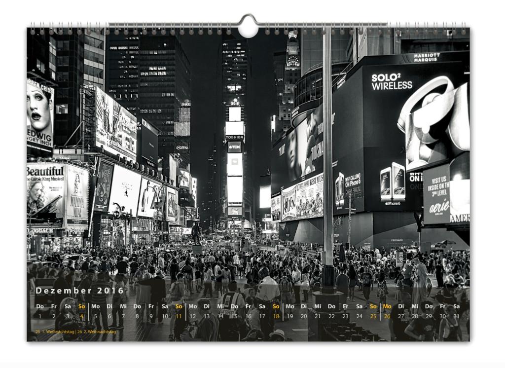 Kalender New York City 2016 Kunstdruck Blatt Dezember